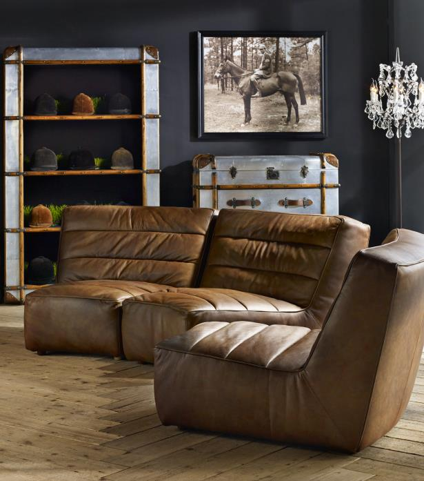 Curved Sofa Sectional Leather: Leather & Fabric Sofa - Shabby Curved